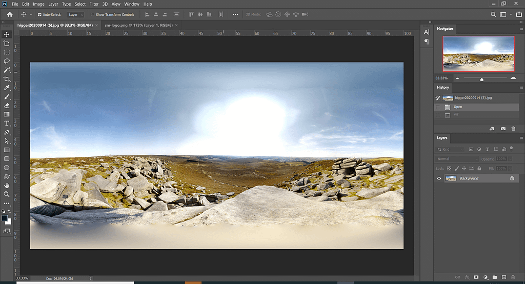 Open one of your 360 degree images in Photoshop