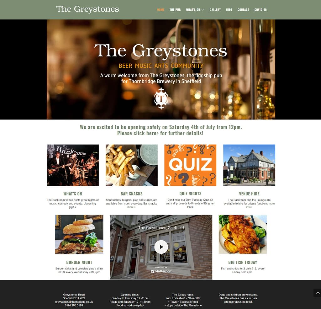 The virtual tour we created in situe on the Greystones Pub website