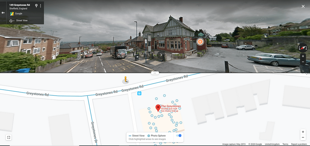 Google integration of the virtual tour for the Greystones Pub, Sheffield
